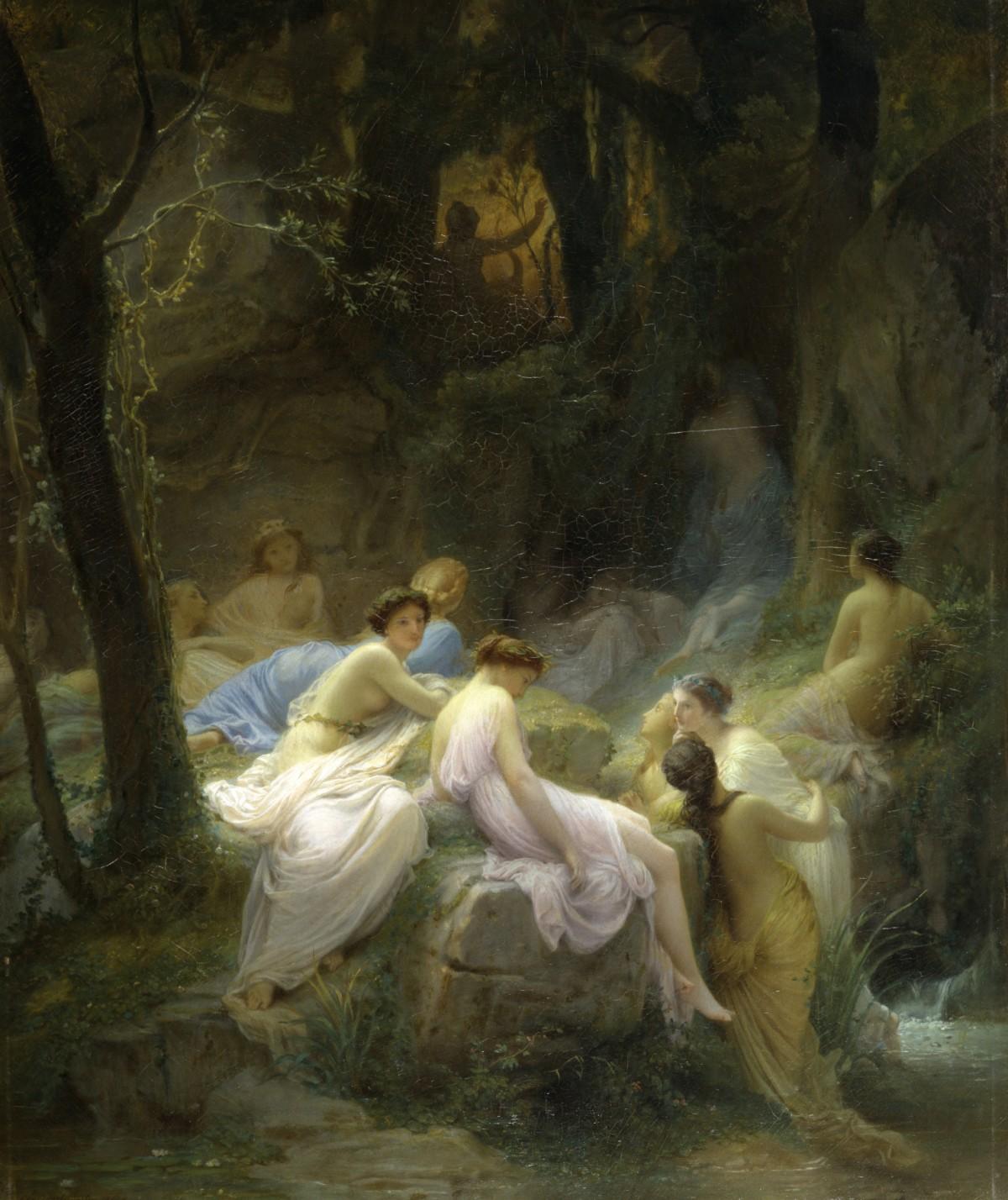 オルフェウスの曲に耳を傾けるニンフたち(シャルル・ジャラベール,1853)