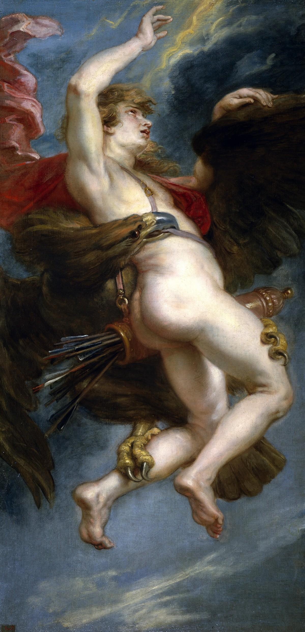 鷲に襲われるガニュメデス(ピーテル・パウル・ルーベンス,1611)