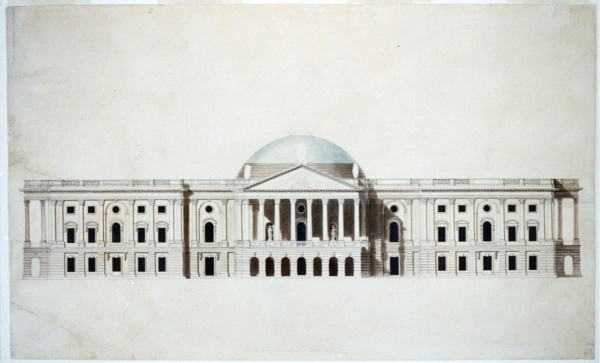 ウィリアム・モートン博士が設計した初期のアメリカ国会議事堂.イメージと逆で,上院が1階に,下院が2階にあった.