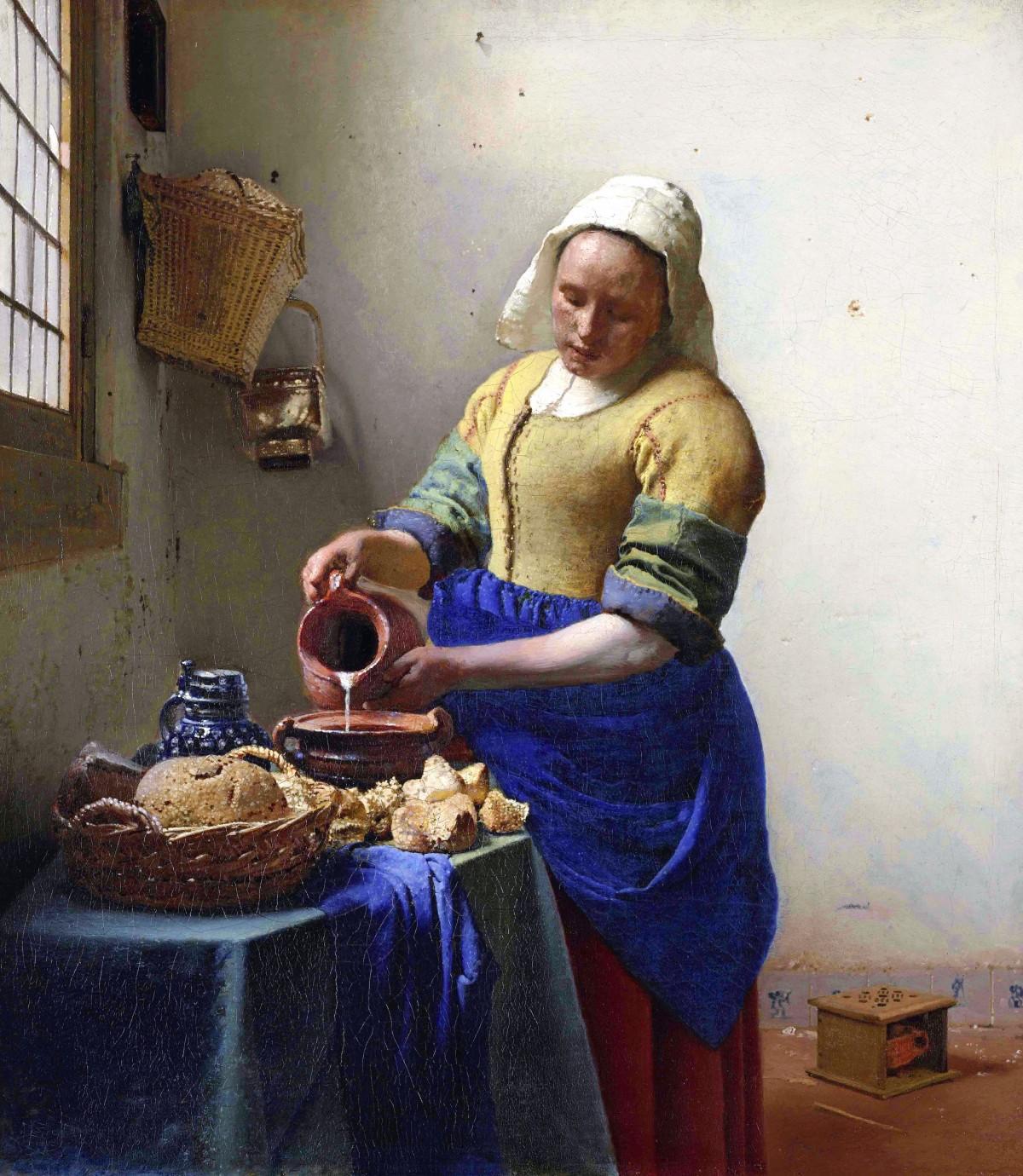 フェルメール:牛乳を注ぐ女 (1657-1958), ウルトラマリン使用