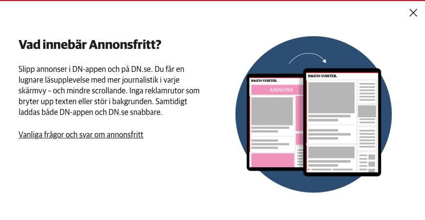 ネット上のDNのサイトとDNが提供しているアプリ上での広告(Annons)表示を止めることができます